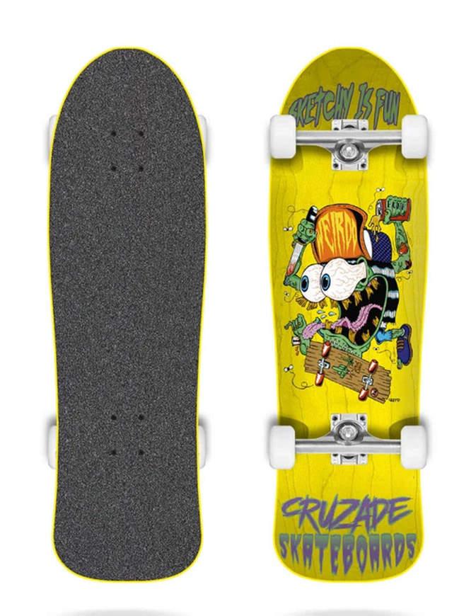 """Skateboard Cruzade Sketchy Is Fun Giallo 9.0"""" x31"""