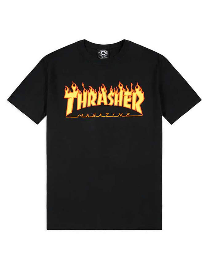 THRASHER T-Shirt Manica corta Flame Nera