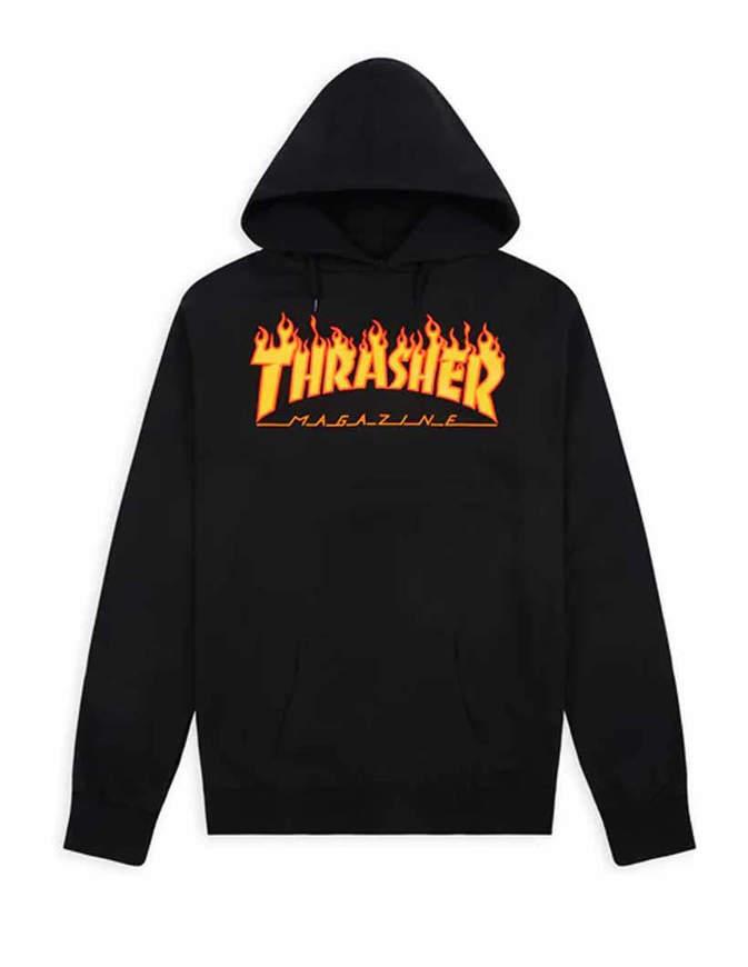 THRASHER Felpa con Cappuccio Logo Flame Nera