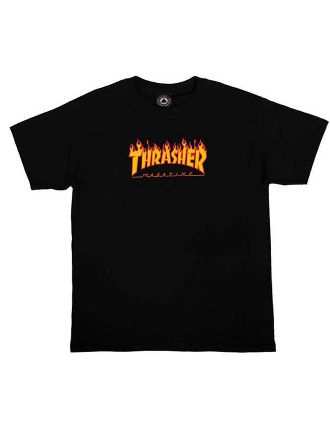 THRASHER T-Shirt Ragazzo Manica corta Flame Nera