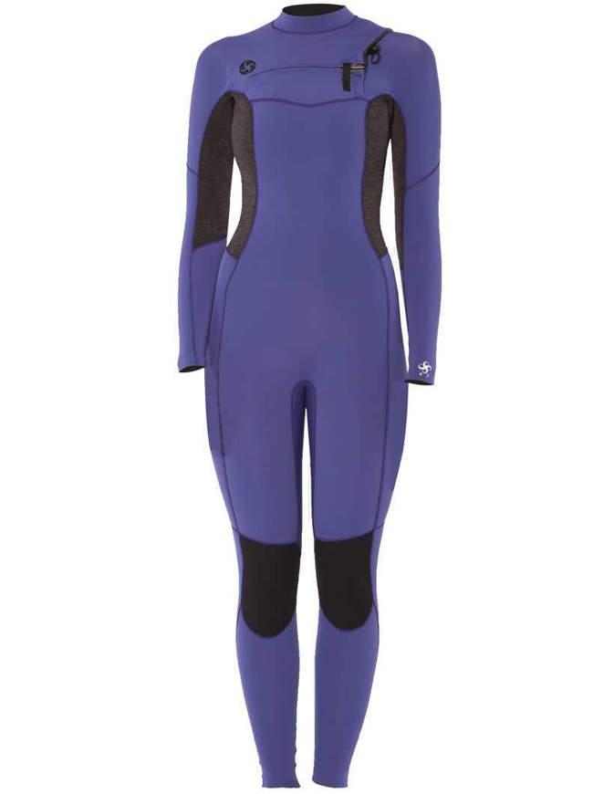VISSLA 7 Seas 4/3 FULL SUIT Muta da donna con zip sul petto Purple Haze
