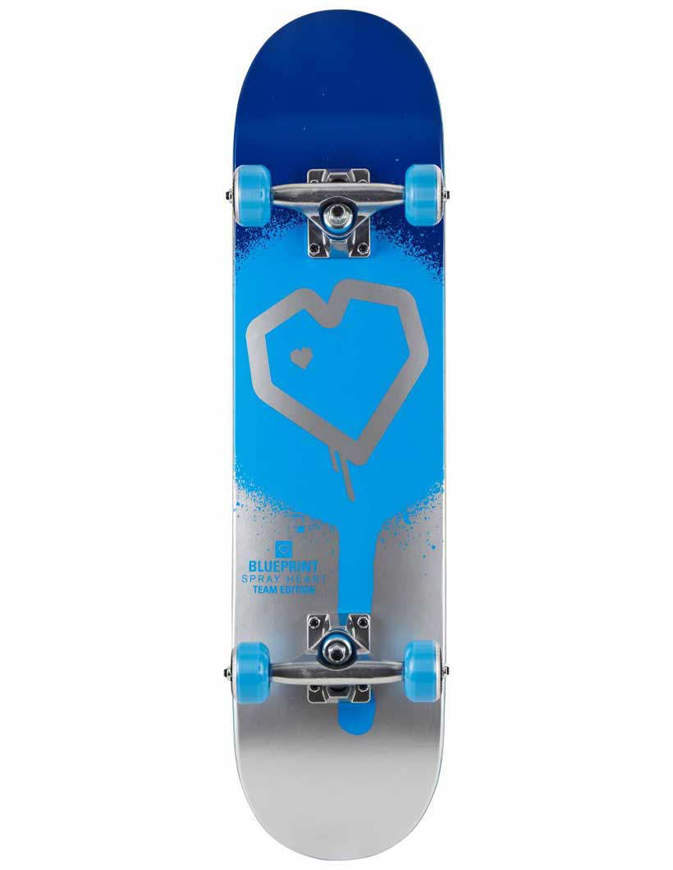 "Skateboard Blueprint Spray Heart Skateboard 8.25"" Completo"