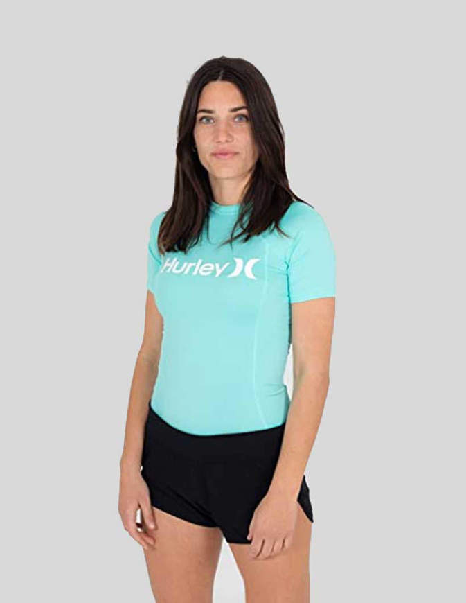 Hurley Maglia Donna One & Only Rashguard S/S Light Aqua